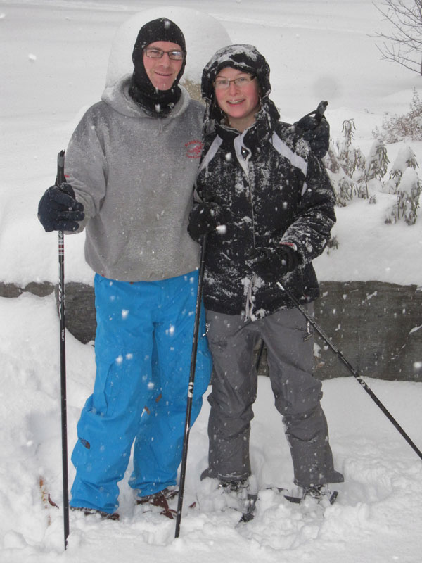Returning from a snowshoe, and ready to ski the freshly packed trails
