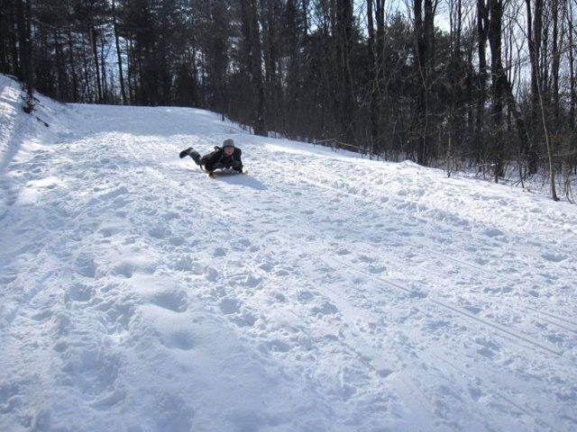 Mount Philo Sledding: The Ride Down