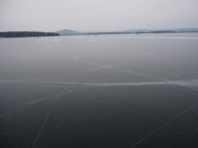 Walking on water: a view toward the Vermont shore with Thompson's Point and Mount Philo