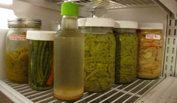 Naturally Soured Zucchini Relish, Pickled Garlic Scapes, Old Brine, Pickled Fiddleheads, and Spicy Turnip Pickles.