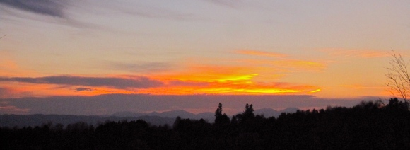 View of the sunset and adirondacks to the west