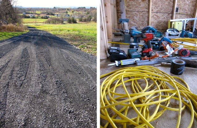 A new driveway, and a battalion of tools occupying our future kitchen