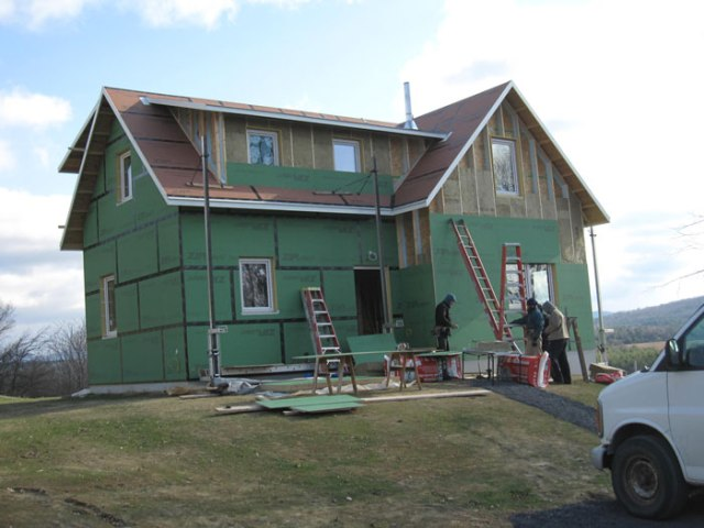 View from the west - the exterior walls are almost ready for clapboards!