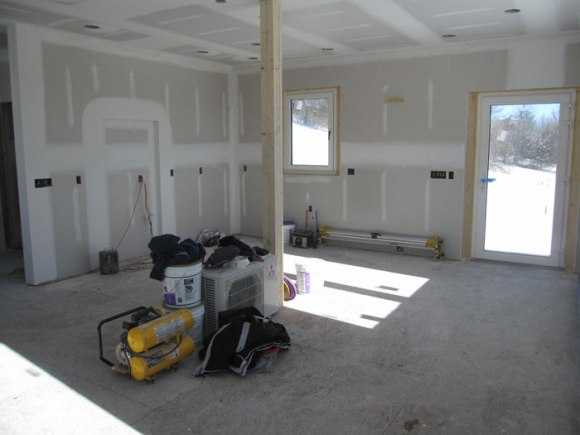 Looking to the north east - our future kitchen.  See the inset area where our fridge will be?
