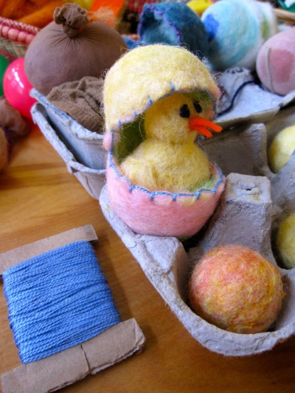 A felted chick in its egg!