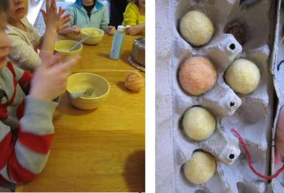 Our students wet-felted their own eggs and balls, which we then transformed into cute little chicks