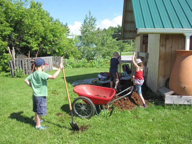Many hands make light work when it comes to moving a big pile of compost.