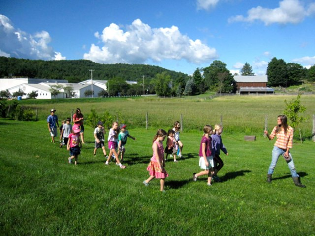 A walking field trip.  Look: our school is right across the road from Philo Ridge Farm!