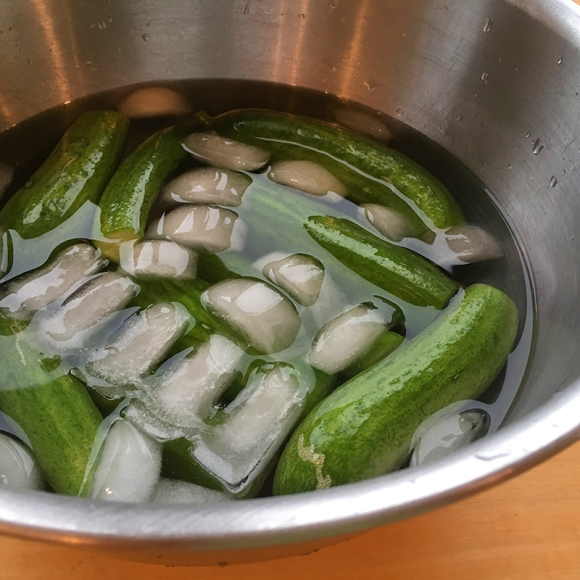 Cucumbers in ice bath